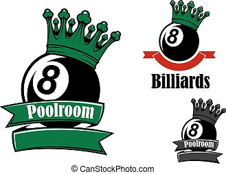 Crowned black billiards or pool balls sporting emblems with...