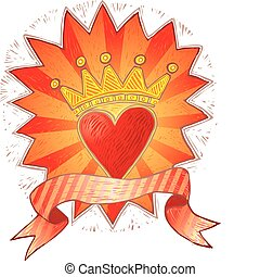 Crowned folk heart with banner in engrave style