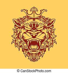 crowned lion design vector illustration