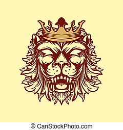 crowned lion style vintage illustration vector