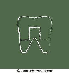 Crowned tooth icon drawn in chalk.