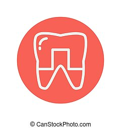 Crowned tooth thin line icon