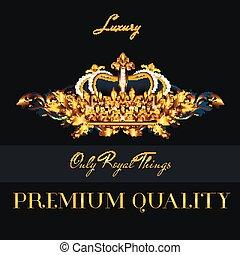 crown.eps, folden, メニュー, logotype, ベクトル, デザイン, 贅沢, ∥あるいは∥