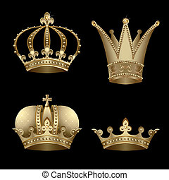 Crowns - Set of four gold crown with diamond