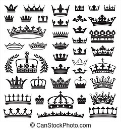Collection of various crowns, performed in the vector.