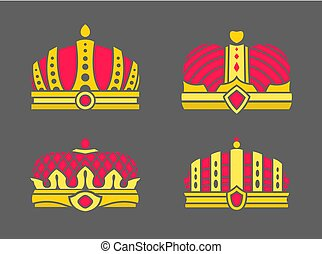 Crowns Collection in Color Vector Illustration