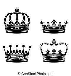 Crowns collection. Vector isolated on white background.