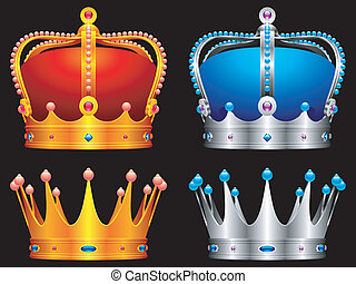 Golden and silver crowns decorated with jewels.