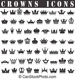 Crowns icon - crown collection (crown set, silhouette crown...