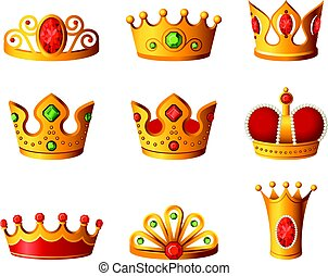 Crowns - realistic vector set of royal headgear