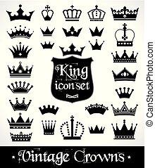 Crowns set . Flat design. Vector illustration of icons