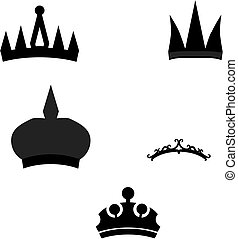 Crowns - Set of crowns clip arts. Editable color.