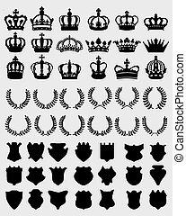 crowns, shields, wreaths