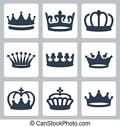 Crowns vector icons set