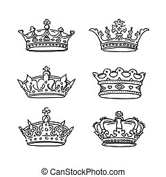 crowns., vettore, set, icons.