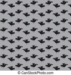 Crows fly. - Seamless texture with the image of a flight of...