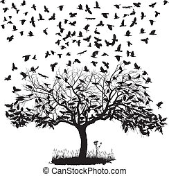 Crows in a tree - vector illustration of the crows on the...