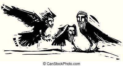 Crows with the heads of men - Woodcut style expressionistic ...