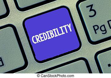 croyable, credibility., être, texte, projection, convaincre, signe, conceptuel, photo, believed, qualité, trusted