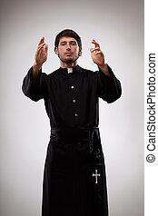 croyants, prêtre, jeune, faire gestes