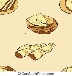 cr?pe, sketched, bread, seamless, patrón