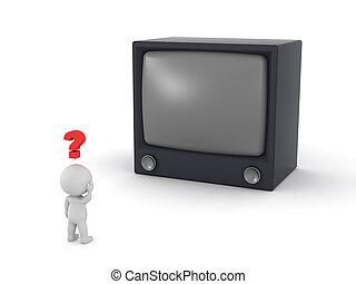 crt, tv, caractère, confondu, grand, 3d