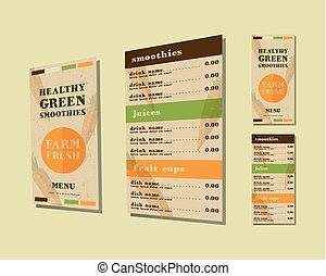 cru, café, style., shake., smoothie, menu, concept., légume, plat, éléments, énergique, boisson, life., fait, organique, isometric., jus, sain, restaurant, vecteur, frais, ou
