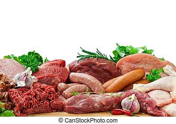 cru, carnes, sortido