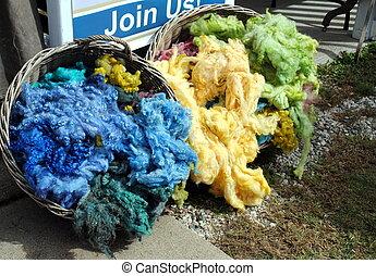 cru, cor, tratados, cordeiros, lã