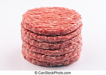 cru, hamburger, empilé, biftecks