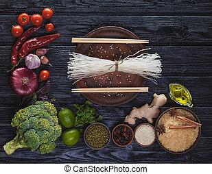 cru, ingredientes, de, oriental, cozinha, de, noodles arroz