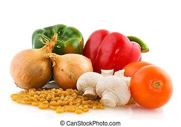 cru, ingredientes, para, macarronada