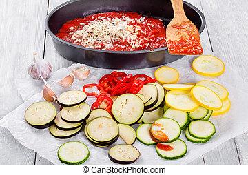 cru, ingredientes, para, tradicional, francês, casserole, close-up