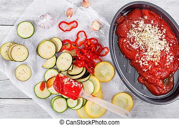 cru, ingredientes, para, tradicional, francês, casserole, -, ratatouille