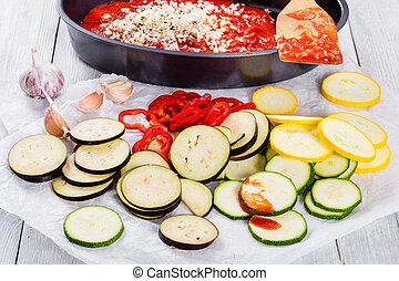 cru, ingredientes, para, tradicional, francês, casserole, ratatouille, cl