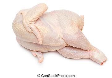 cru, mensonges, poulet, côté, une