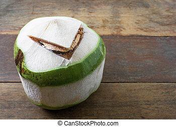 cru, noix coco, sur, bois, fond