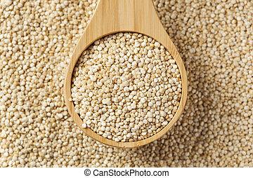 cru, orgânica, quinoa, sementes