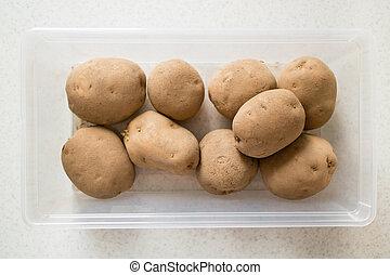 cru, pommes terre, récipient, plastique