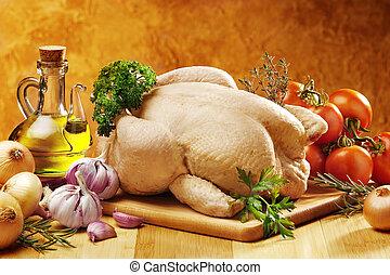 cru, poulet, cuisine