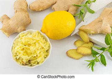 cru, raiz gengibre, limão, e, salsa