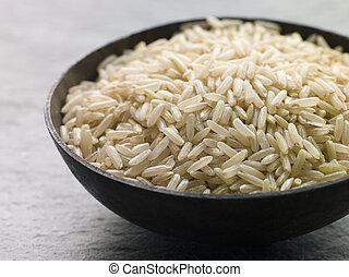 cru, riz, bol, basmati