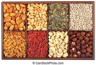 cru, sementes, nozes