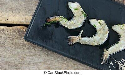 cru, sommet, vue., crevettes