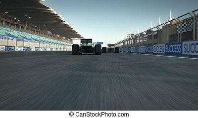 cruce, acabado, racecars, línea