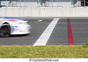 cruce, coche, línea, fin, carrera