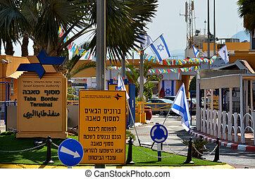 cruce, eilat, israel, frontera, taba