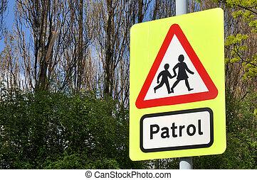 cruce, escuela, patrulla, señal