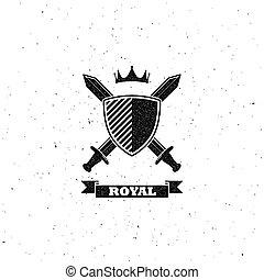 cruce, espadas, protector, y, corona, etiqueta