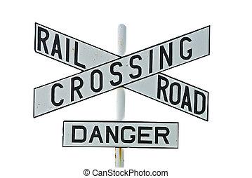 cruce, ferrocarril, blanco, aislado